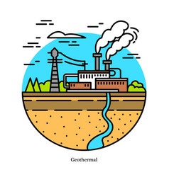 geothermal power plant dry and flash steam vector image