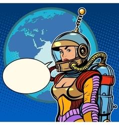 Girl cosmonaut on planet Earth vector