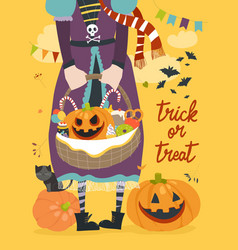 Girl holding basket with pumpkin and sweets vector