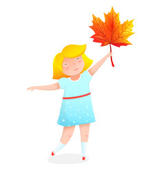 Girl with maple leaf flat vector