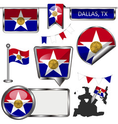 Glossy icons with flag of dallas vector