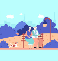 grandparents in park romantic elderly people vector image