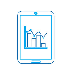 graph chart on cellphone screen icon image vector image