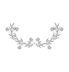 Gray scale half crown olive branch contour vector