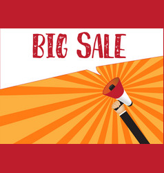 hand holding megaphone to speech - big sale vector image