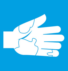 Hand with stains icon white vector