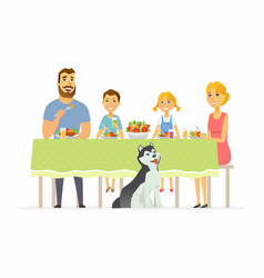 Happy family having dinner together - modern vector
