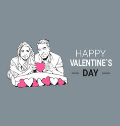 happy valentines day poster smiling couple hold vector image