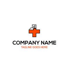 health-cross-medical-document-logo vector image