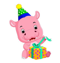 hippo birthday get a gift vector image