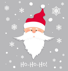 ho-ho-ho christmas banner santa claus in red hat vector image