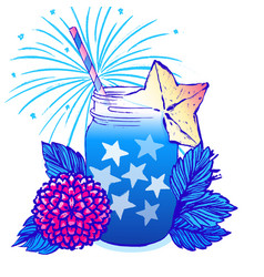 ink hand drawn card july 4th independence day vector image