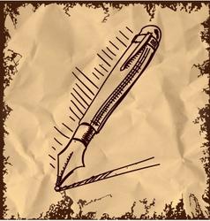 Ink pen cartoon sketch vector image vector image
