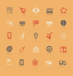 Internet entrepreneur line icons with reflect vector