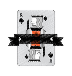 King of spades suit emblem french playing card vector