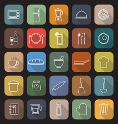 Kitchen line flat icons with long shadow vector image