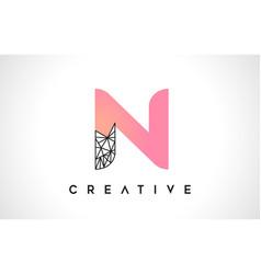 Letter n beauty logo n letter design with origami vector