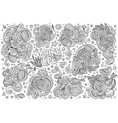 Line art set of marine life objects vector