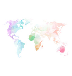 low poly global world map vector image