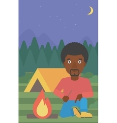 Man kindling campfire vector
