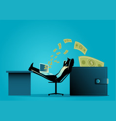 man relaxing while receiving money transfer from vector image