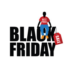 man silhouette sitting on black friday icon vector image