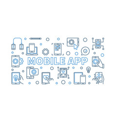 mobile app concept outline banner or vector image