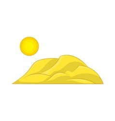 Mountain and the sun icon cartoon style vector image