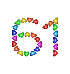 Number 61 sixty one of colorful hearts on white vector