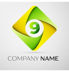 Number nine logo symbol in the colorful rhombus vector image