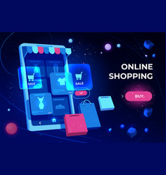 Online shopping landing page smartphone screen vector