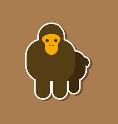 paper sticker on stylish background cartoon monkey vector image