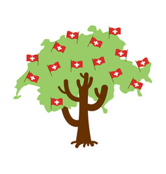 patriotic tree switzerland map swiss flag vector image