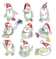 Penguin in christmas hat doodle vector