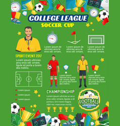 Poster for soccer or football league cup vector