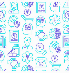 psychologist seamless pattern with thin line icons vector image