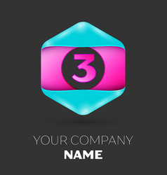 Realistic number three logo in colorful hexagonal vector
