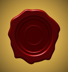 Red wax seal on gold gradient background vector
