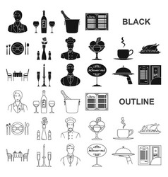 Restaurant and bar black icons in set collection vector