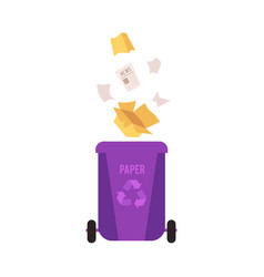 Rubbish violet bin with falling paper waste vector
