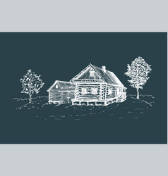 Rural landscape hand drawn vector