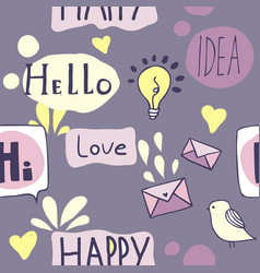 Seamless pattern with icons and speech bubbles vector