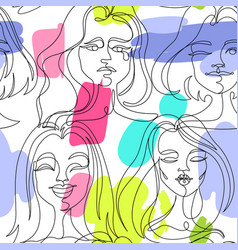 seamless pattern with woman faces one line art vector image