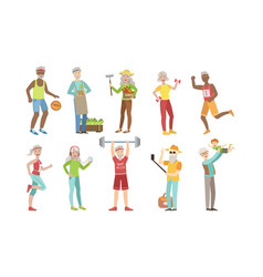 senior people different activities and hobbies set vector image