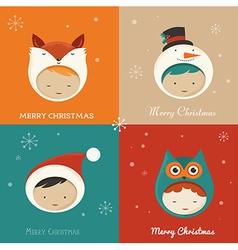 set cute xmas cards vector image