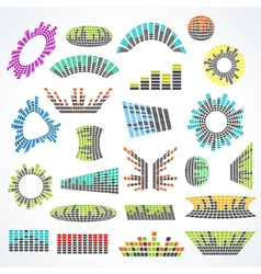 Set of cororful music equalizer design vector