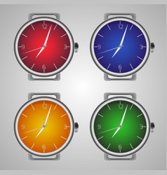 set of realistic wrist watches multicolored clock vector image