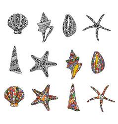 set zen art style hand drawn sea stars vector image