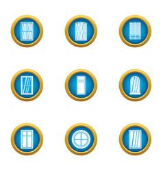 shiny window icons set flat style vector image