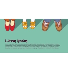 Shoes family parents with child vector